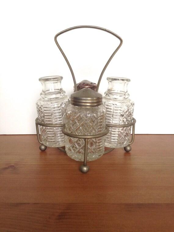Vintage salt pepper oil caddy chrome and glass retro kitchen decor