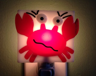 Fused Glass Confused Crab Night Light