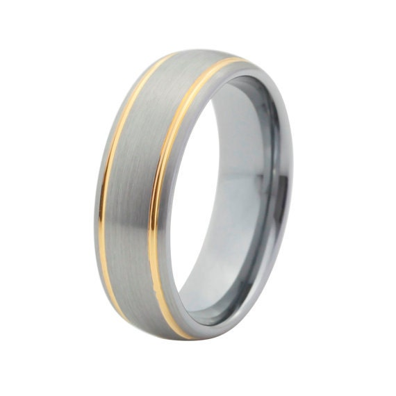 Two Tone Tungsten Wedding Band Mens Tungsten By Chriskdesigns