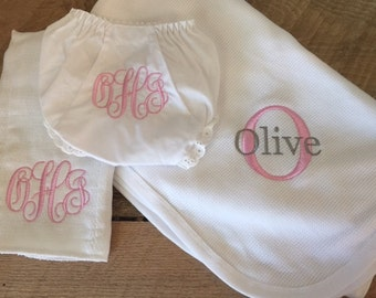 Personalized Blanket, Baby Bloomers and Burp Cloth Gift Set - Personalized - Monogrammed Baby Gifts - Baby Blanket - Easter Gift, Baby Gifts