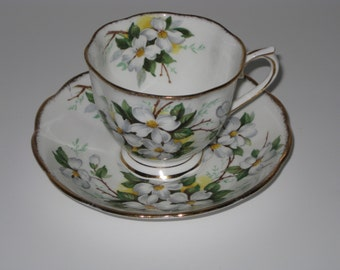vintage royal albert bone china white dogwood teacup set with brushed gold rim