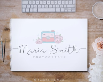 Camera logo Photography Logo - premade logo  - handdrawn camera logo - photography branding