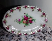 Dolls House miniature Old Country Rose oval tray dish