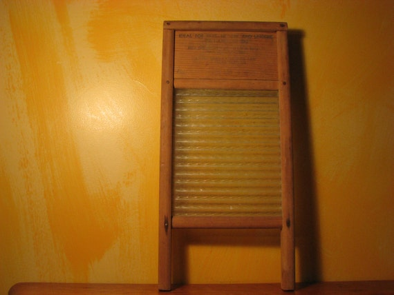 Vintage Glass Scrub Board
