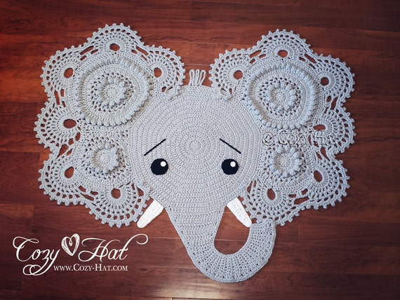 Elephant Rug. Hand Crocheted. Ready to Ship SALE by CozyHat