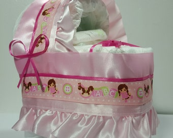 Pink ABC Blocks with Dolls Diaper Bassinet Baby Shower Gift Table Decoration Centerpiece