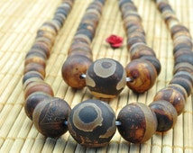 15.6 inches of  Retro Agate matte round tower necklace,DIY handmade wholesale beads in 6-14mm