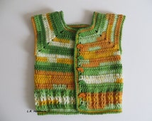 Crochet Boys Vest, Boys Vests, 9 Months to 12 Months, Baby Clothes, Sleeveless Cardigan, Sweater vest, Spring boys vest, green, yellow, car