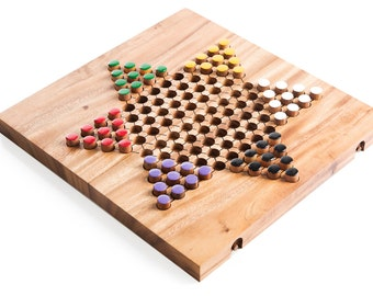 Chinese Checkers - wooden board game, wood board game, strategy game, game, wood game, game for adults, game for kids, table game