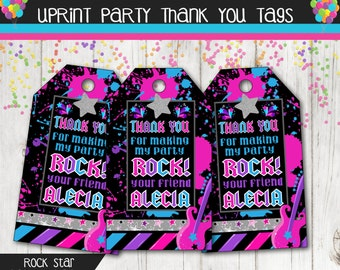 Girl Rock Star Personalized Thank You Favor Tags Personalized Printable