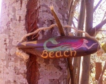 """Red haired mermaid tiny driftwood """"Beach"""" sign"""