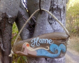 "Blonde mermaid ""HOME"" driftwood house sign"