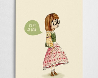 Cat lady illustration, french quote poster, girl illustration // C'est si bon
