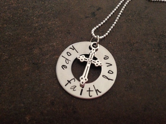 Hope faith love handstamped necklace easter gift cross for Faith hope love jewelry