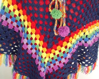 Dark blue girls poncho with Rainbow course