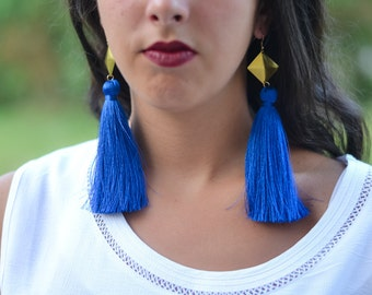 Royal Blue Tassel Earrings Gold tassel Earrings Geometric Tassel earrings Gifts For Her Tassel Jewelry Statement Earrings