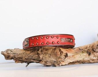 Leather Dog Collar // Personalized Dog Collar // Copper Dog Collar // Name Plate Dog Collar // Customized Dog Collar //