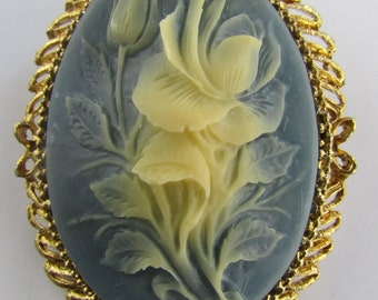 Vintage Floral Cameo, Carved Flower Cameo, Wedgwood Blue Cameo, Floral Cameo Brooch, Blue Gold Tone Cameo Brooch, Free US Shipping