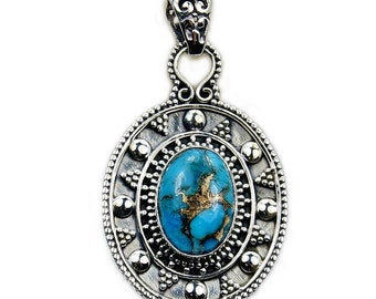 Exotic Blue Copper Turquoise Jewelry & .925 Sterling Silver Pendant , AA539