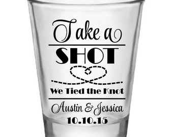 "50x ""Tied The Knot"" Custom Shot Glasses"