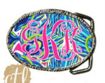 Belt Buckle Personalized - Monogrammed Belt - Pulitzer Inspired - Design Your Own Belt Buckle- Monogrammed