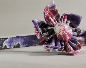 Cat Collar or Kitten Collar with Flower or Bow Tie - Lavender Floral