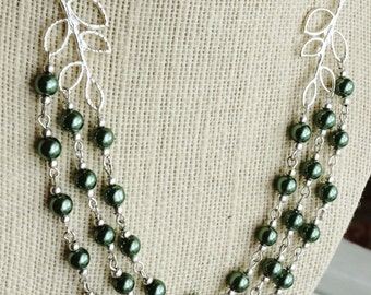 50% OFF Necklace, Forest green pearl multi strand necklace