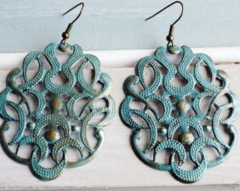 Earrings, large turquoise patina filigree earrings