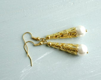 50% Off SALE Earrings, gold filigree and pearl dangle earrings.