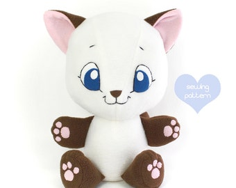 PDF Plushie sewing pattern - Kitten plush cat DIY stuffed animal soft toy 15""