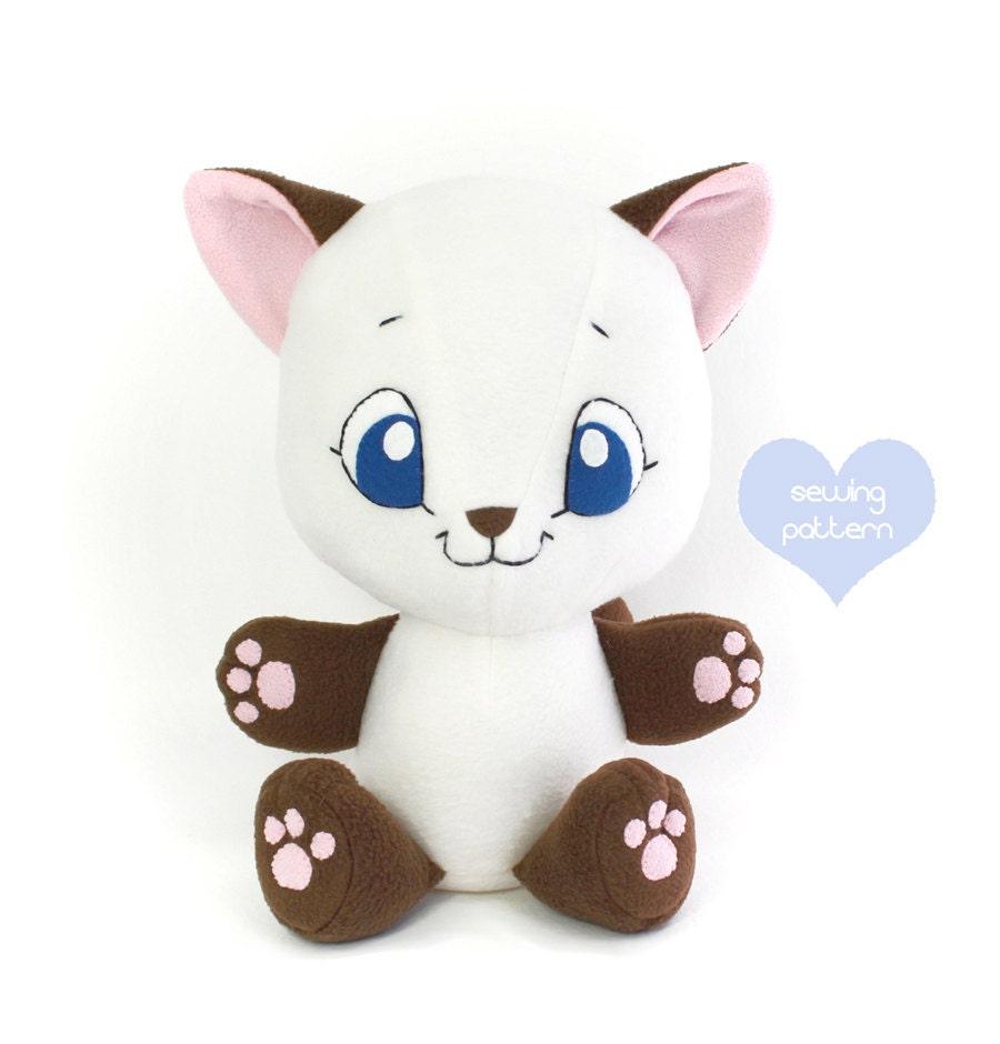 PDF sewing pattern Cuddle Cat stuffed animal easy cute