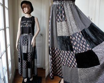 GYPSY long skirt patchwork indian skirt hippie rock black velvet liberty 70s 80s vintage boho bohemian - One Size