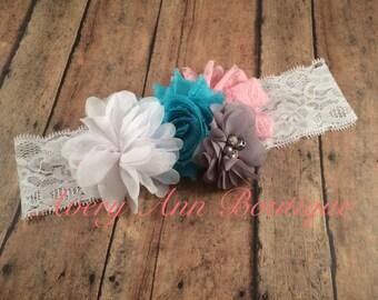 Couture Headband, Baby Lace Headband, Girl Pink Headband, Pink and White Birthday Headband, Turquoise Headband, Flower Girl Headband
