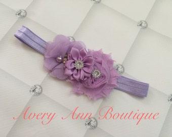 Lavender Headband,  Baby Lavender Headband, Girl Lavender Headband, Lavender Flower Girl, Purple Headband