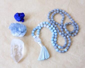 108 Mala Beads, Knotted Mala Necklace with Tassel, Yoga Jewelry, Labradorite, Aquamarine & Moonstone - Strength, Stress Relief