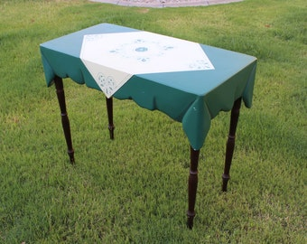Wood console sofa accent table with painted wood tablecloth top