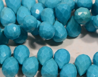 Sleeping Beauty Turquoise Teardrops Gemstone Bead supplies Arizona Turquoise, Loose bead 2 pcs