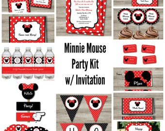 Minnie Party Kit With Editable Text, DIY Printable Minnie Mouse Party Kit, Printable Editable Minnie Mouse Party, Minnie Party to Print PDF