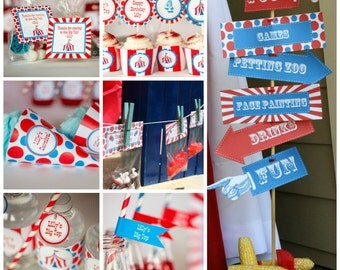 Printable Carnival Party Kit w/ Editable Text plus Invite to Print at Home, DIY Carnival Party Kit to Personalize and Print at Home