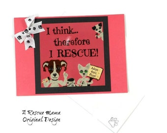 Pet Adoption - Card for New Dog - New Cat Card- Dog Rescue - Dog Adoption - Cat Rescue - Cat Adoption - Handmade Card - New Dog - New Cat