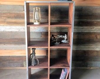 Reclaimed Wood Double Cube Bookcase, Bookshelf, Bookshelves