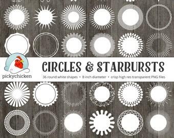 Circles & Starbursts round clip art - 36 white digital borders frames tags leaf floral circular clipart sunburst Instant Download 5029