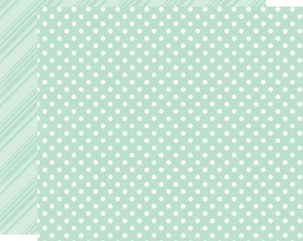 2 Sheets of Echo Park Paper DOTS & STRIPES Spring 12x12 Scrapbook Paper - Robin's Egg (DS15003)