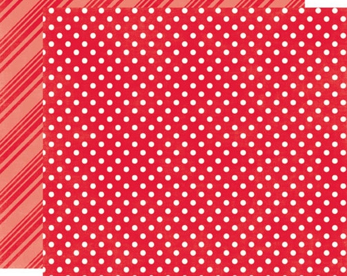 2 Sheets of Echo Park Paper DOTS & STRIPES Brights 12x12 Scrapbook Paper - Ladybug Red (DS15030)