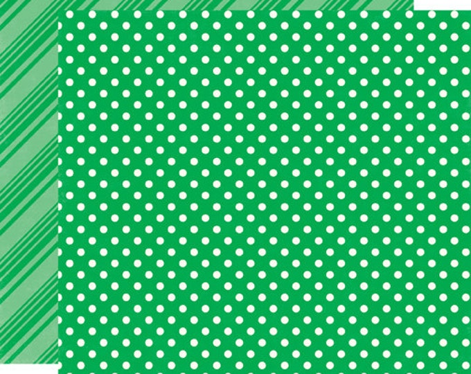 2 Sheets of Echo Park Paper DOTS & STRIPES Summer 12x12 Scrapbook Paper - Grass (DS15011)
