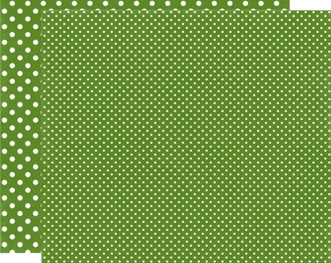 2 Sheets of Echo Park Paper DOTS & STRIPES Fall 12x12 Scrapbook Paper - Leaf Green (2 Sizes of Dots/No Stripes) DS15038