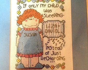Design Works Art & Soul Personalized Counted Cross Stitch Kit, Embroidery, Needlepoint Pattern, If Only My Child Was Sleeping Recharging