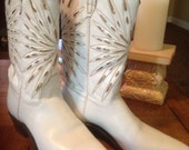 Vintage 1950's Women's Western Boots by Acme, Vintage Cowgirl Boots, White and Gold Foil Western Boots