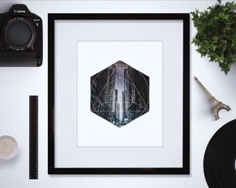 Downloadable City Art Print - City Wall Art - Geometric Art Print - Geometric Design - Hexagon Art Print - Triangle Art Print - Office Decor