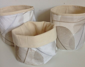 Set of 3 reversible upholstery fabric baskets